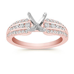 Vintage Diamond Rose Gold Engagement Ring with Channel and Pave Setting