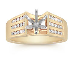 Cathedral Diamond Engagement Ring with Channel Setting