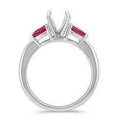 Three-Stone Pear Shaped Ruby Engagement Ring