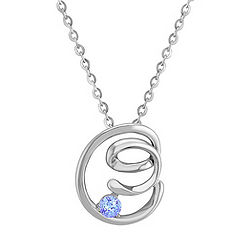 Ice Blue Sapphire and Sterling Silver Pendant (18 in.)