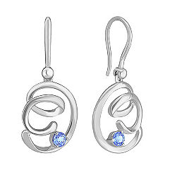 Ice Blue Sapphire and Sterling Silver Earrings