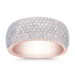 Contemporary Pave Diamond Ring in 14k Rose Gold