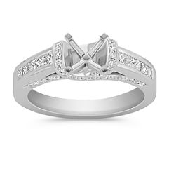 Princess Cut and Round Diamond Platinum Engagement Ring with Channel and Pave Setting