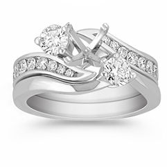 Three-Stone Swirl Diamond Wedding Set with Channel Setting