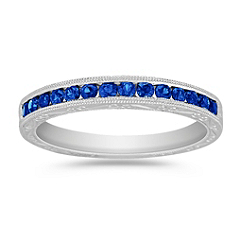 Round Sapphire Wedding Band with Channel Setting