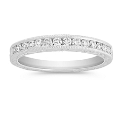 Round Diamond Wedding Band with Channel Setting