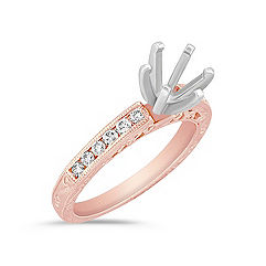 Vintage Diamond Engagement Ring with Channel Setting in Rose Gold