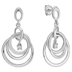 Diamond & Circle Sterling Silver Earrings