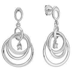 Diamond & Circle Sterling Silver Earrings