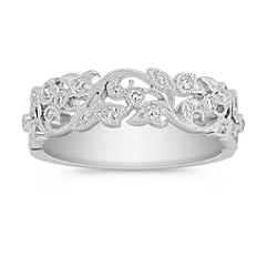Vine Vintage Diamond Wedding Band with Pavé Setting