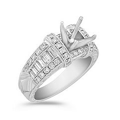 Vintage Baguette and Round Diamond Engagement Ring with Channel Setting