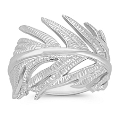 Modern Feather Sterling Silver Ring