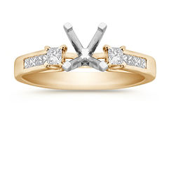 Princess Cut Diamond Cathedral Engagment Ring with Channel Setting