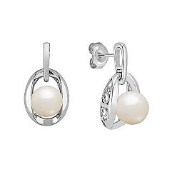 7.5mm Cultured Freshwater Pearl and Sterling Silver Earrings