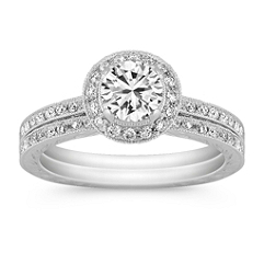 Halo Vintage Round Diamond Wedding Set