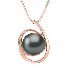 10mm Cultured Tahitian Pearl and Round Diamond Pendant in Rose Gold (18)