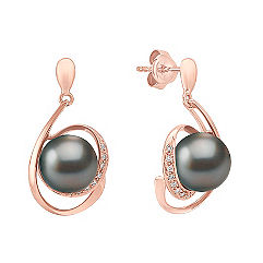 9mm Cultured Tahitian Pearl and Round Diamond Earrings in Rose Gold