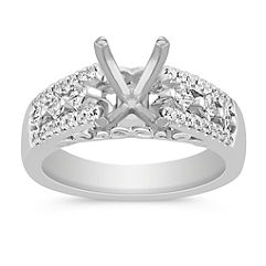 Cathedral Princess Cut and Round Diamond Engagement Ring