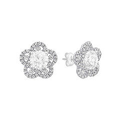 Floral Diamond Earring Jackets in 14k White Gold