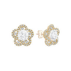 Floral Diamond Earring Jackets in 14k Yellow Gold