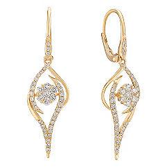 Round Diamond Leverback Earrings