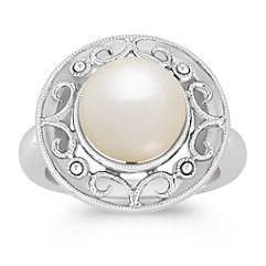9mm Cultured Freshwater Pearl in Sterling Silver