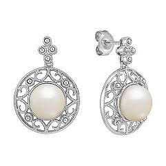 8.5mm Cultured Freshwater Pearl Earrings in Sterling Silver