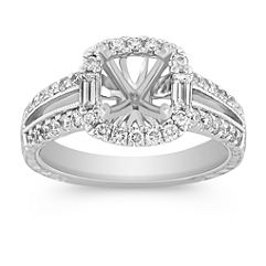 Halo with Side Baguette and Round Diamond Engagement Ring with Pave-Setting