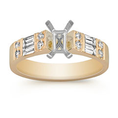 Baguette and Round Diamond Cathedral Engagement Ring