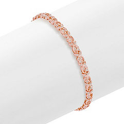Round Diamond Bracelet in 14k Rose Gold (7.5 in.)