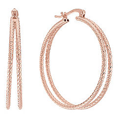Double Rose Sterling Silver Hoops