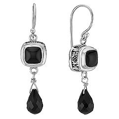 Black Agate and Sterling Silver Dangle Fish Hook Earrings