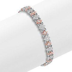 Round Diamond Bracelet in 14k White and Rose Gold (7 in.)