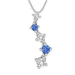 Round Multi-Colored Sapphire Journey Pendant (18)