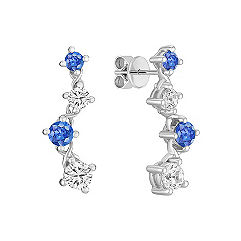 Round Multi-Colored Sapphire Journey Earrings