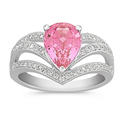Pear Shaped Pink Sapphire and Round Diamond Ring