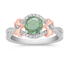 Round Green Sapphire and Diamond Ring in Two-Tone Gold