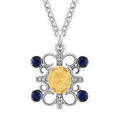 Oval Yellow Sapphire, Round Sapphire, and Diamond Pendant (18 in.)