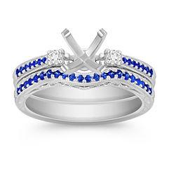 Vintage Sapphire and Diamond Wedding Set with Pave Setting