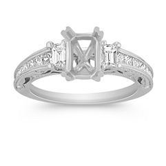Vintage Baguette, Princess Cut, and Round Diamond Engagement Ring