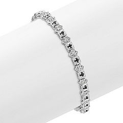 Round Black and White Sapphire Bracelet (7 in.)