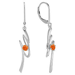 Round Orange Sapphire and Sterling Silver Earrings