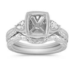 Three-Stone Vintage Pear- Shaped Diamond Wedding Set