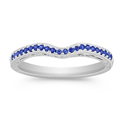 Sapphire Contour Wedding Band with Pave Setting