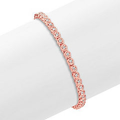 Round Diamond Bracelet in 14k Rose Gold (7 in.)
