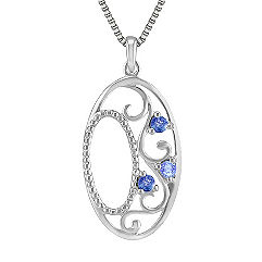 Round Multi-Colored Sapphire Pendant in Sterling Silver (18 in.)