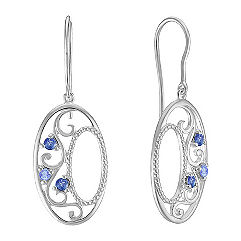Round Multi-Colored Sapphire Earrings in Sterling Silver
