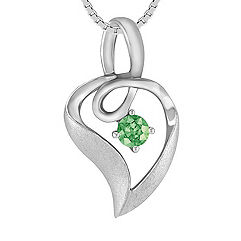Round Green Sapphire and Sterling Silver Pendant (18 in.)