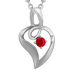 Round Ruby and Sterling Silver Pendant (18 in.)