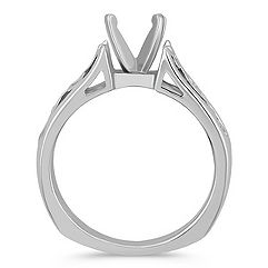 Vine Filigree Solitaire 14k White Gold Engagement Ring